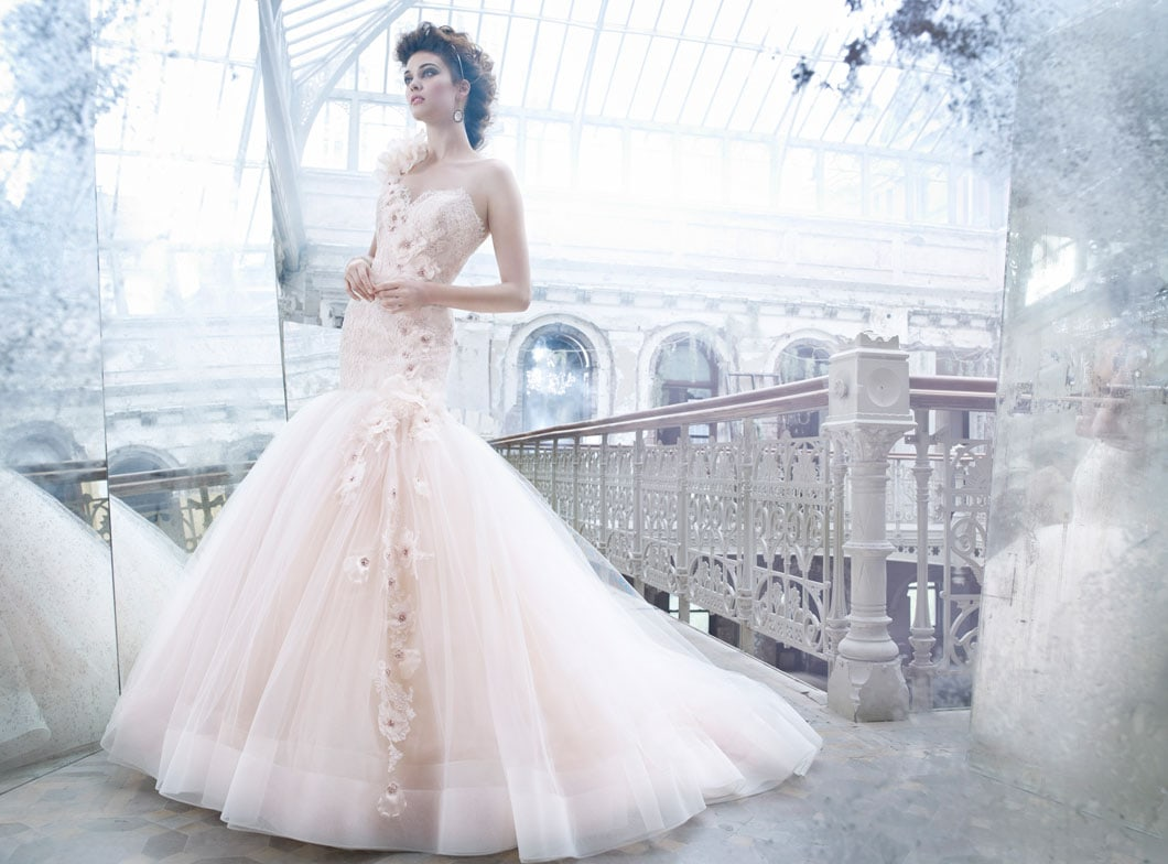 Lazaro Bridal Tulle Ball Gown Sweetheart Elongated Lace Corset