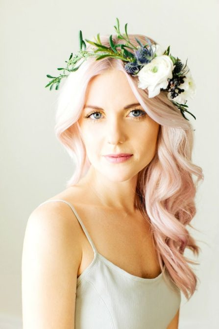 see the full feature on these gorgeous images from Ciara Richardson http://glitterinc.com/2013/05/floral-crown-soft-pink-hair/
