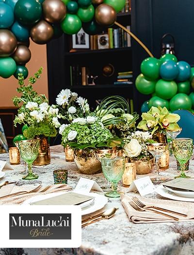 MunaLuchi: Green and Gold Glam Celebration Inspiration