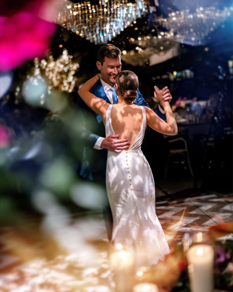 Bride and groom performing first dance